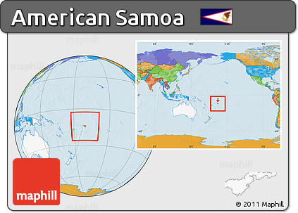 Free Political Location Map of American Samoa, highlighted ...