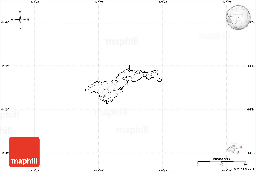 Blank Simple Map of American Samoa no labels – American Somoa Map