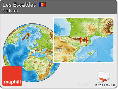 Physical Location Map of Les Escaldes, within the entire country
