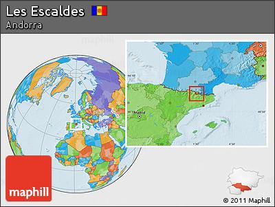Political Location Map of Les Escaldes