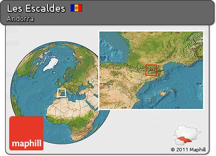 Satellite Location Map of Les Escaldes