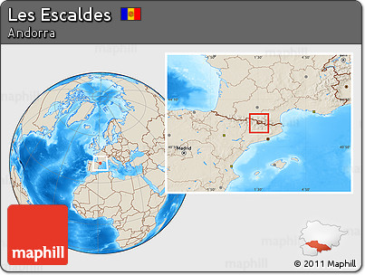 Shaded Relief Location Map of Les Escaldes
