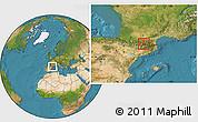 Satellite Location Map of Ordino