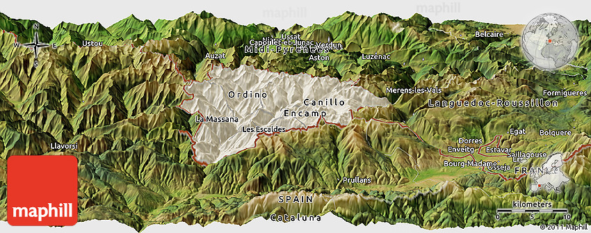 Shaded Relief Panoramic Map of Andorra satellite outside