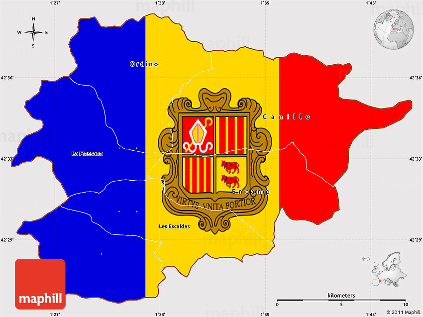Flag Simple Map of Andorra