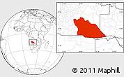 Blank Location Map of Cuando Cubango