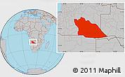 Gray Location Map of Cuando Cubango
