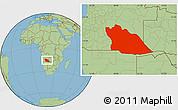Savanna Style Location Map of Cuando Cubango
