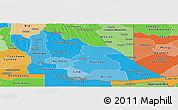 Political Shades Panoramic Map of Cuando Cubango