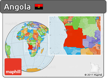 Political Location Map of Angola