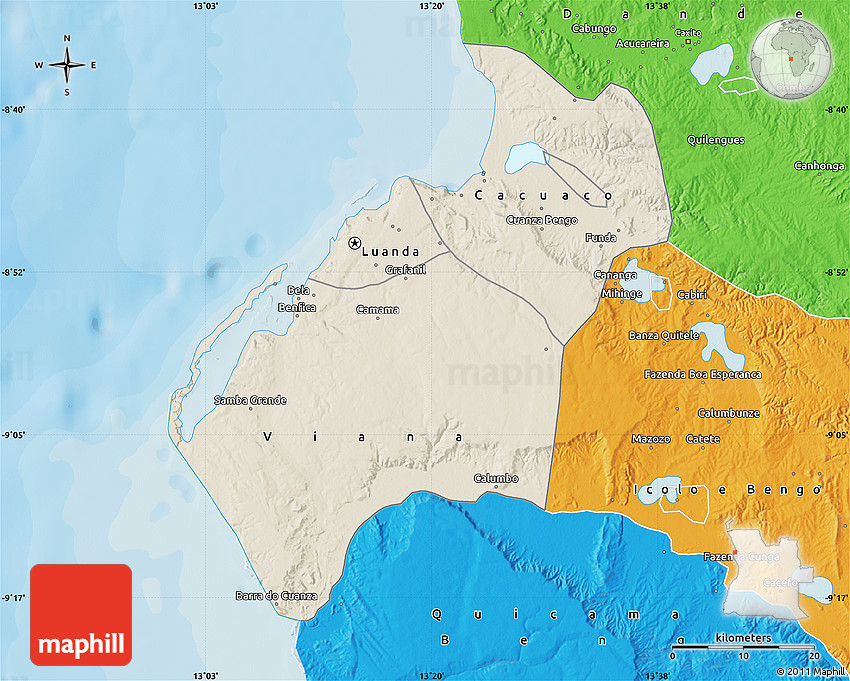 Shaded Relief Map of Luanda political outside