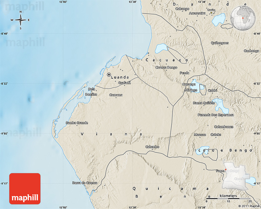 Shaded Relief Map of Luanda