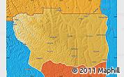 Physical Map of Caungula, political outside