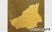 Physical Map of Lunda Sul, darken