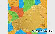 Physical Map of Lunda Sul, political outside