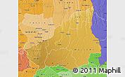 Physical Map of Lunda Sul, political shades outside