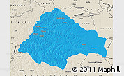 Political Map of Moxico, shaded relief outside