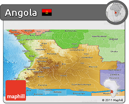 Free Physical Panoramic Map Of Angola Political Shades Outside - Political map of angola