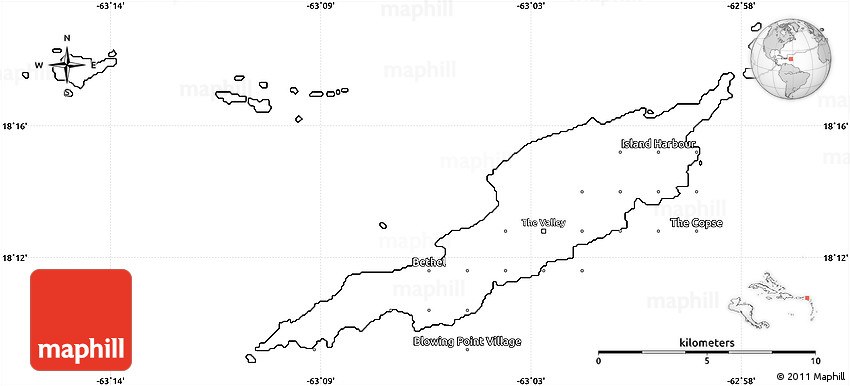 Blank Simple Map Of Anguilla - Map of anguilla
