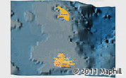 Political Shades 3D Map of Antigua and Barbuda, darken