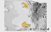 Political Shades 3D Map of Antigua and Barbuda, desaturated