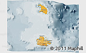 Political Shades 3D Map of Antigua and Barbuda, semi-desaturated