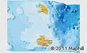 Political Shades 3D Map of Antigua and Barbuda, shaded relief outside, bathymetry sea