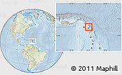 Physical Location Map of Antigua and Barbuda, lighten