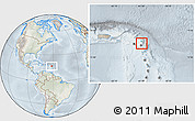 Physical Location Map of Antigua and Barbuda, lighten, semi-desaturated