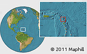 Physical Location Map of Antigua and Barbuda, satellite outside