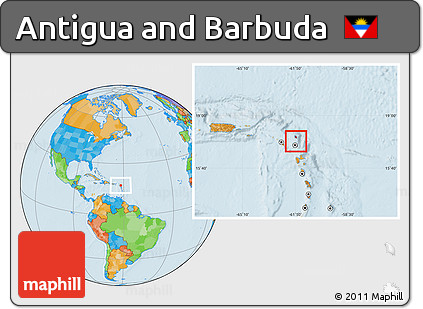 Free Political Location Map of Antigua and Barbuda