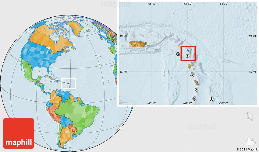 Political Location Map Of Antigua And Barbuda