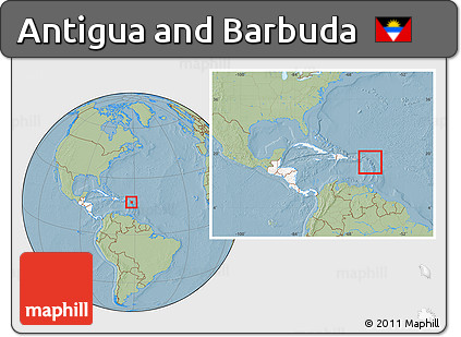 Free Savanna Style Location Map of Antigua and Barbuda highlighted