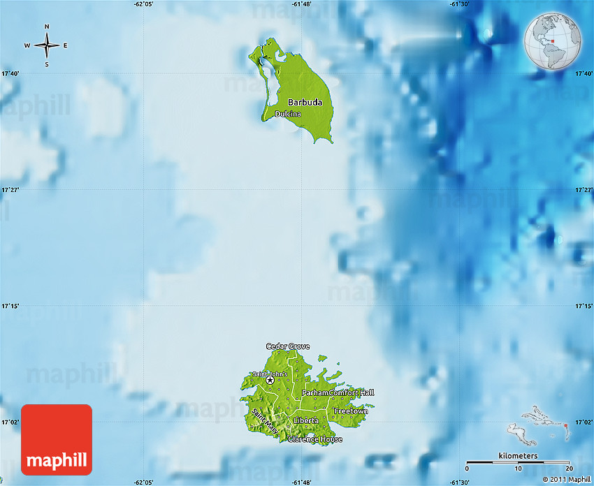 Map of Antigua and Barbuda. Capital: St. John's. Languages ... |Terrain Map Antigua And Barbuda