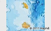 Political Shades Map of Antigua and Barbuda, satellite outside, bathymetry sea