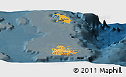Political Shades Panoramic Map of Antigua and Barbuda, darken