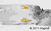 Political Shades Panoramic Map of Antigua and Barbuda, desaturated