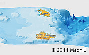 Political Shades Panoramic Map of Antigua and Barbuda, satellite outside, bathymetry sea