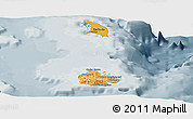 Political Shades Panoramic Map of Antigua and Barbuda, semi-desaturated