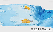Political Shades Panoramic Map of Antigua and Barbuda, shaded relief outside, bathymetry sea