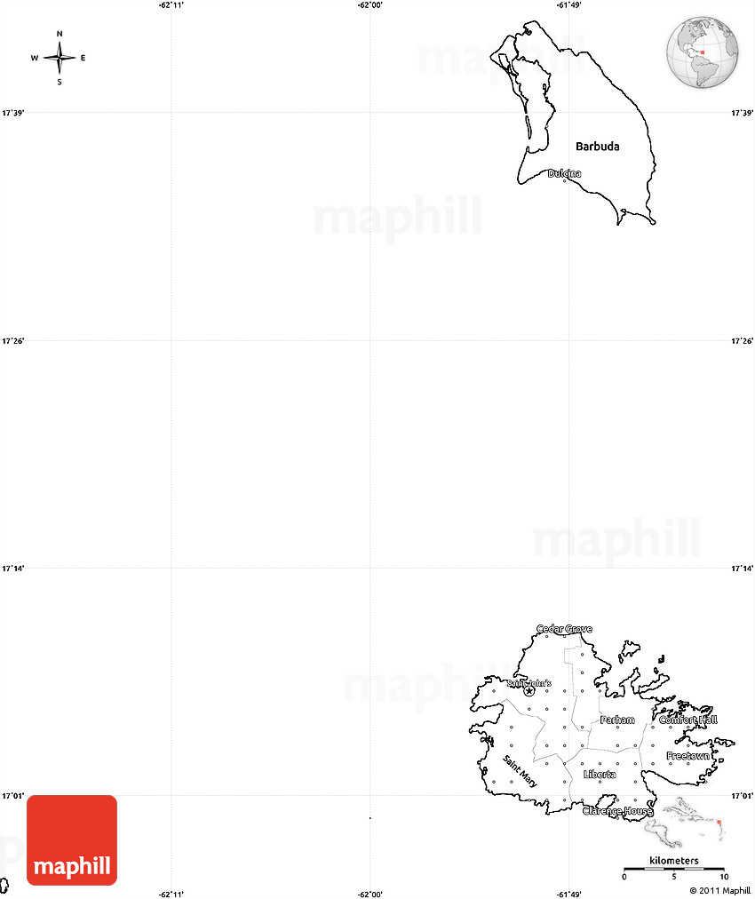 Blank Simple Map of Antigua and Barbuda