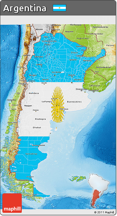 Free Flag D Map Of Argentina Physical Outside - Physical map of argentina