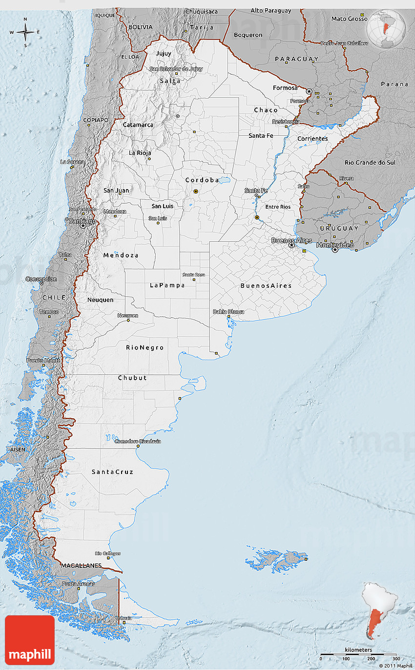 Gray D Map Of Argentina - Argentina 3d map