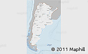 Gray 3D Map of Argentina, single color outside