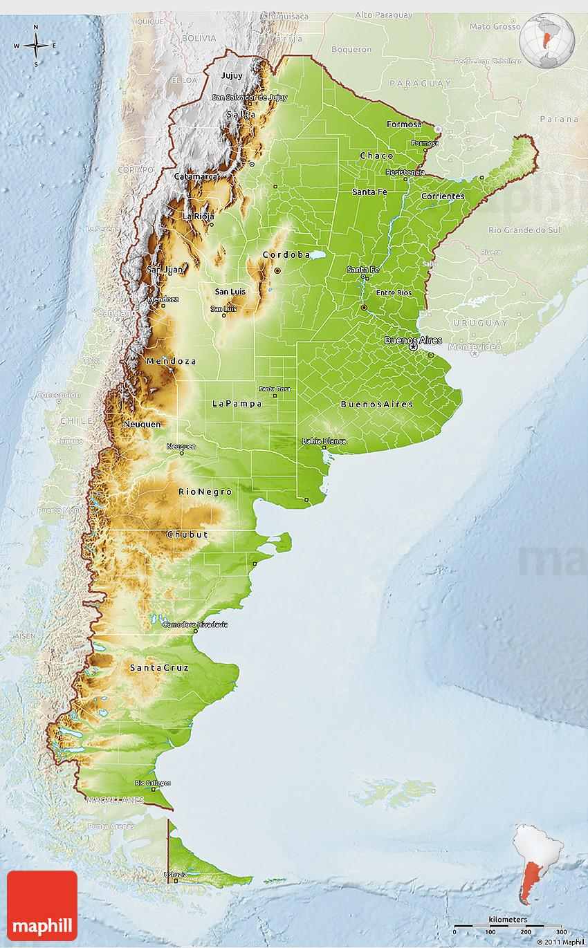 Physical 3D Map of Argentina, lighten