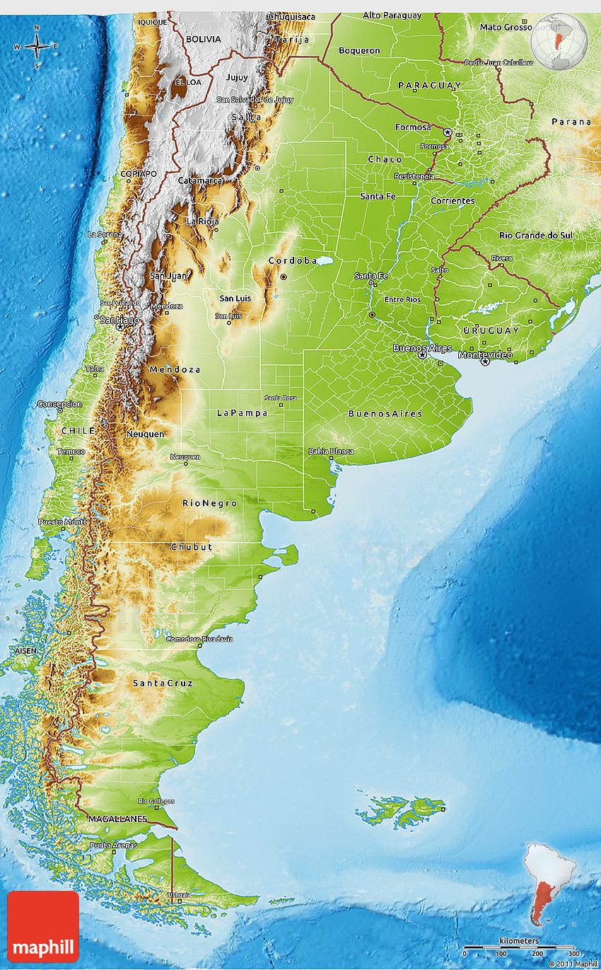Physical 3D Map of Argentina