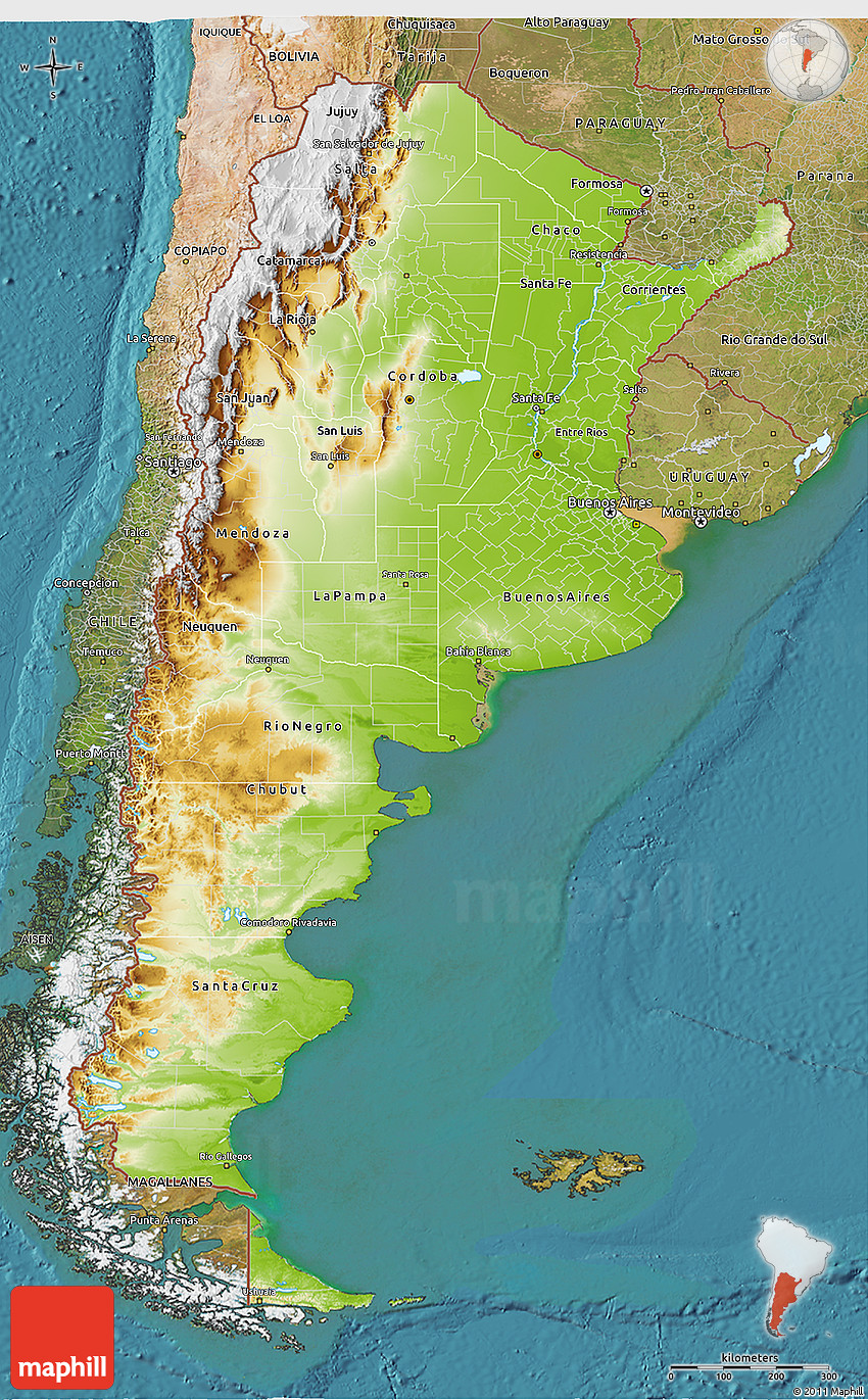 Physical 3D Map of Argentina, satellite outside