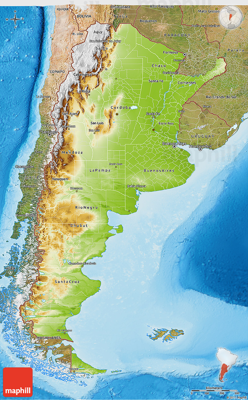 Physical D Map Of Argentina Satellite Outside Shaded Relief Sea - Physical map of argentina