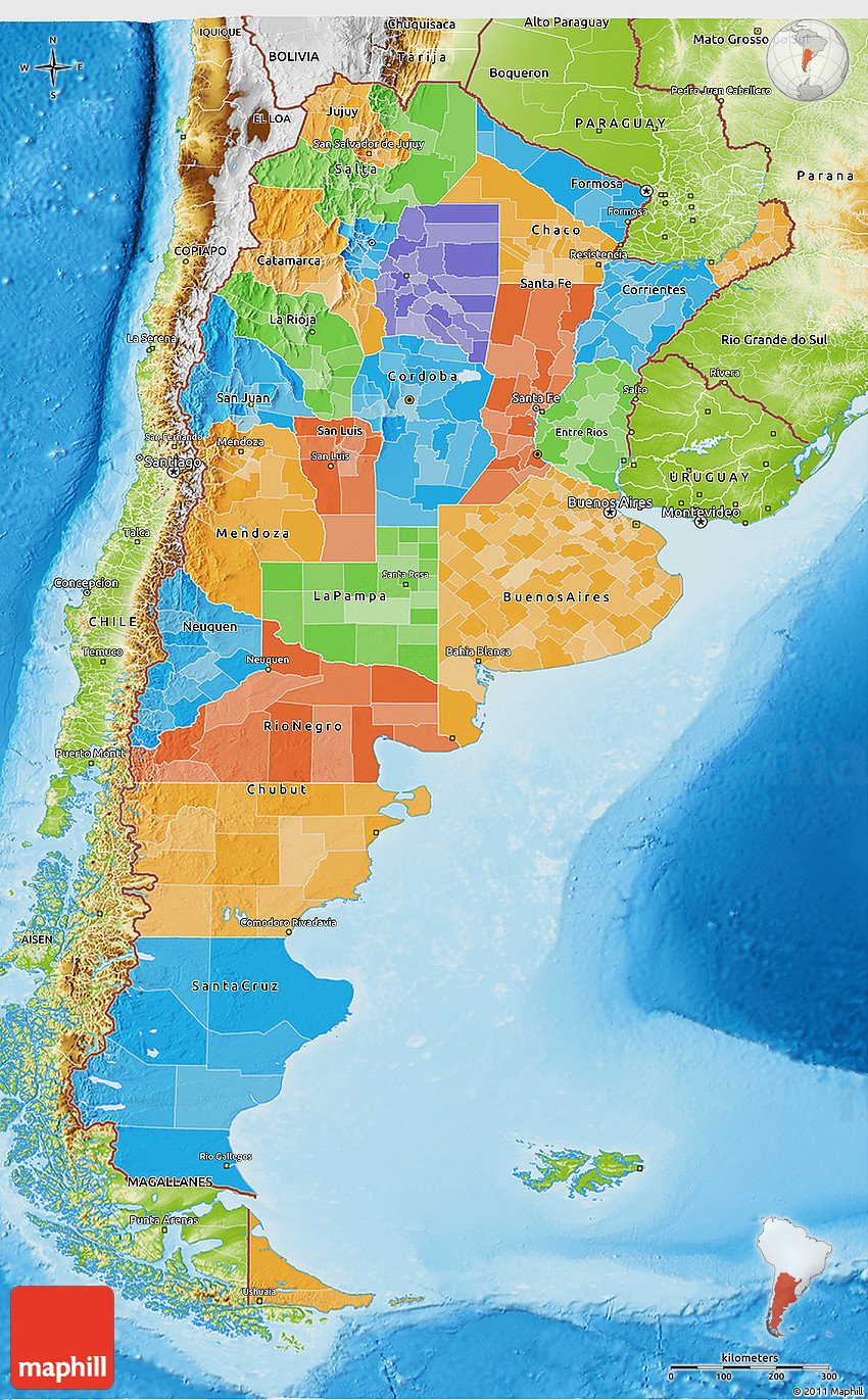 Political D Map Of Argentina Physical Outside - Physical map of argentina