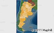 Political Shades 3D Map of Argentina, darken